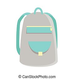 Gray Backpack Icon - Gray backpack icon in flat. Schoolbag...