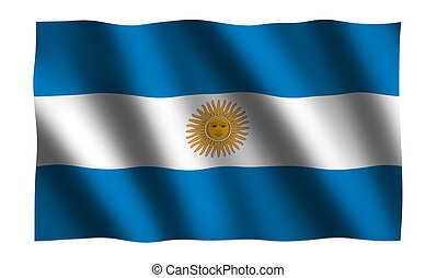 Argentina Flag in 3D - Waving Argentina Flag in 3D on white...