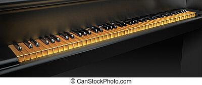 Golden piano keys
