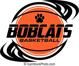 bobcats basketball team design with ball and paw print for...