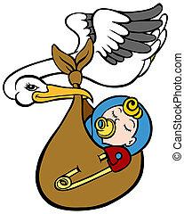 Stork Delivering Baby