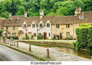 Stone homes in Castle Combe Village, Wiltshire, England