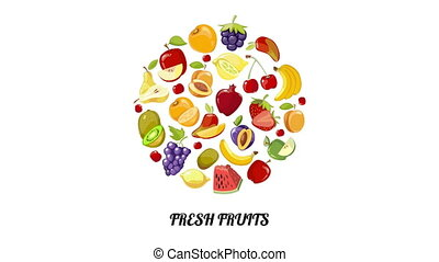Fresh fruits circle moving animation. Round badge of...