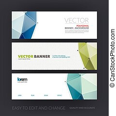 Vector set of modern website banners with polygonal background with grid hi-tech communication connection concept. Minimal, simple and clean web headers design. Creative corporate vector flyer.