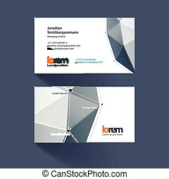 Business card template with triangles and polygons in minimal style with grid hi-tech communication concept. Minimal, simple and clean design. Creative corporate vector layout.