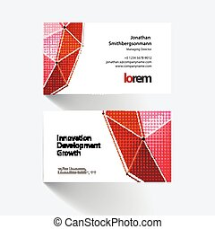 Vector business card template with triangles in polygonal style with grid hi-tech communication future concept. Minimal, simple and clean design. Creative corporate vector layout.