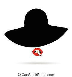 woman head with hat and cigarette illustration
