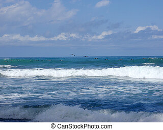 Flying in Formation by some nice waves, in Punta Banco,...