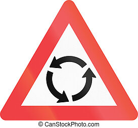 Warning road sign used in Denmark - Roundabout warning.