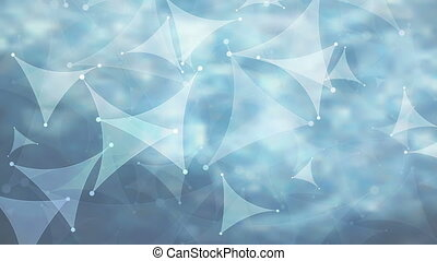 Abstract blue curved triangles low poly video animation -...