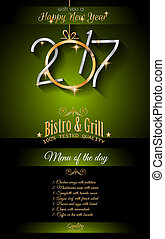 2017 Happy New Year Restaurant Menu Template Background for...