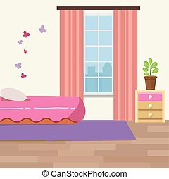 Nursery room with white furniture. Baby pink stripe interior. Girl room design with bed, crib mobile, chest of drawers and toy bin.
