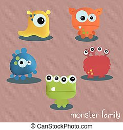 Set with five monsters. Print for Halloween.