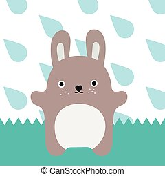 Gray monster. Little rabbit in rain time