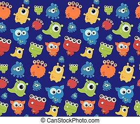 Seamless pattern with monsters. Print for Halloween.