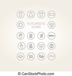 Collection of abstract vector futuristic icons. Use it as...