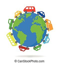 cars driving around the world  - vector graphic