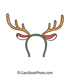 Funny mask with Christmas reindeer horns isolated on white...