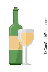 Bottle of White Wine and Glass Isolated - Bottle of white...