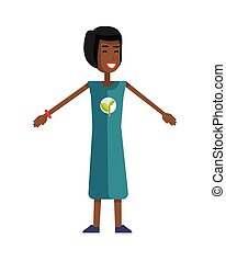 Young Ecologist Character Vector Illustration - Smiling...