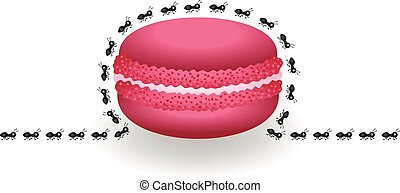 Ants around macaroon - Scalable vectorial image representing...