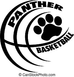 panther basketball team design with paw print inside ball...