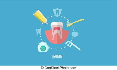 Oral hygiene and teeth care label animation. Toothpaste and...