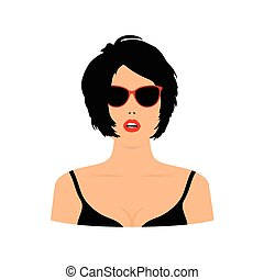 woman sensual head with sunglasses illustration in colorful