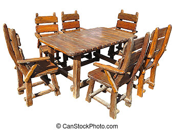 Vintage handmade wooden table and chairs isolated over white