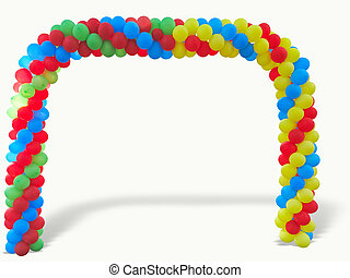 Colorful arch of red blue yellow green balloons isolated...