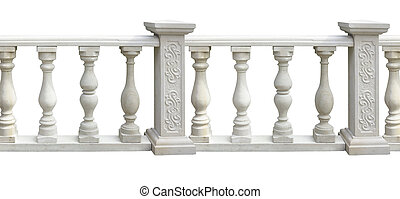 Classic stone balustrade with column isolated over white...