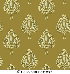 Symmetrical seamless pattern with decorative leaves