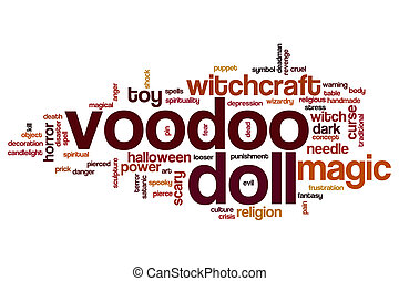 Voodoo doll word cloud concept