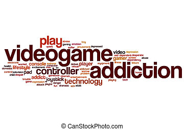 Videogame addiction word cloud concept