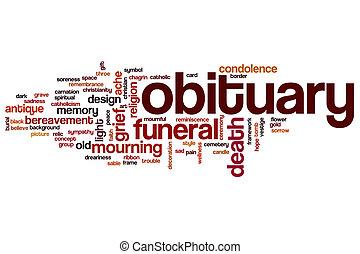 Nécrologie, mot, nuage