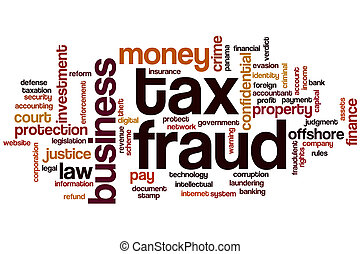 Tax fraud word cloud concept