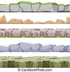 Seamless Rocky Landscape And Stony Grounds For Game Ui -...