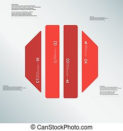 Octagon illustration template consists of four red parts on...