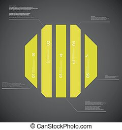 Octagon illustration template consists of five green parts...