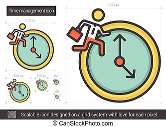 Time managment line icon - Time managment vector line icon...
