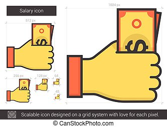 Salary line icon. - Salary vector line icon isolated on...