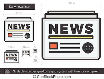 Daily news line icon. - Daily news vector line icon isolated...