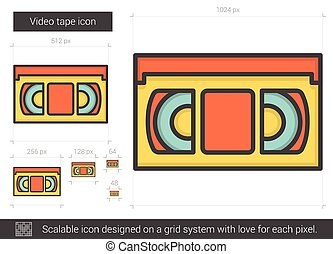 Video tape line icon. - Video tape vector line icon isolated...