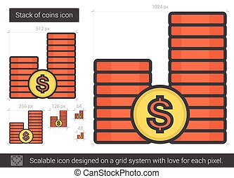 Stack of coins line icon. - Stack of coins vector line icon...