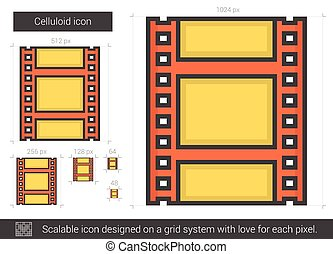 Celluloid line icon. - Celluloid vector line icon isolated...