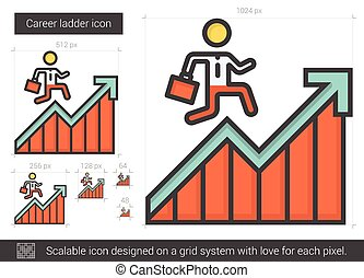 Career ladder line icon. - Career ladder vector line icon...