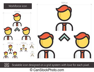 Workforce line icon - Workforce vector line icon isolated on...