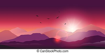 Mountain landscape at sunset and dawn - Stock vector...