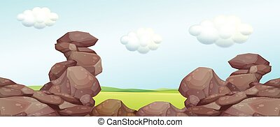 Nature scene with rocks and field illustration