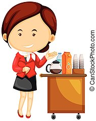 Flight attendant serving drinks on airplane illustration